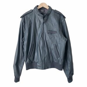 Vintage Members Only Gray Leather Bomber Jacket 42